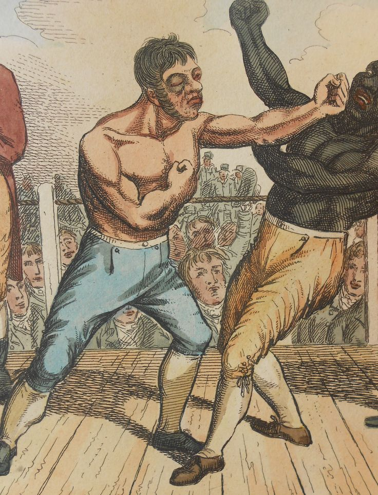 Antique 19th-century hand-coloured etching: Bare-knuckle boxing fight between Tom Cribb and Tom Molineaux. Sold at: www.SpencerBros.co.uk. British sporting art / rare antique print / bare-knuckle boxing / boxer / fight / Georgian / gentleman's library/ art / interior design.