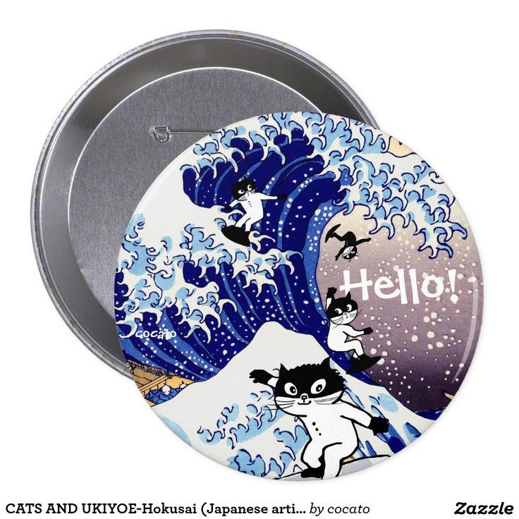 CATS AND UKIYOE-Hokusai (Japanese artist) 10.2cm 丸型バッジ