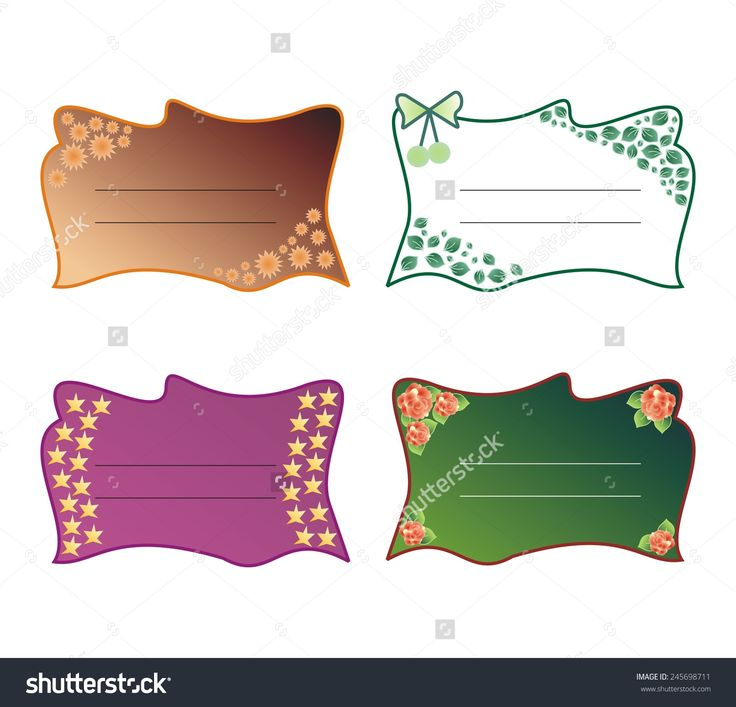 decorative #text #frames #stickers with roses, leaves, stars, flowers and bow