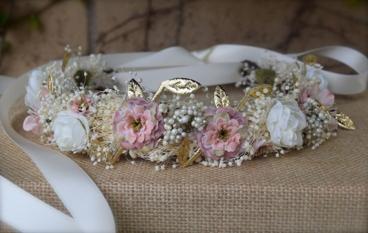 Pale Pink, Stardust & Gold Flower Girl Wreath - hues of soft dusty pink and ivory with gold leaves and pearl queen annes lace- Photo Prop by BohoHaloCompany on Etsy https://www.etsy.com/listing/245548606/pale-pink-stardust-gold-flower-girl