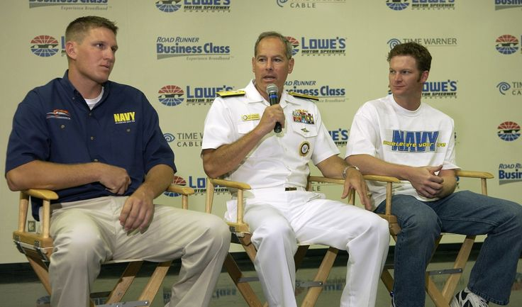  L-R Mark McFarland, Rear Adm. Dale Jeffrey Fowler, Dale Earnhardt Jr.  U.S. Navy photo by Chris Desmond August 23, 2005 Commander, Navy Recruiting Command, Rear Adm. Dale Jeffrey Fowler and Navy NASCAR driver and team owner Dale Earnhardt Jr., right, and driver Mark McFarland, left, announce today during a press conference at Lowes Motor Speedway Charlotte, N.C., that the Navy will sponsor a new team owned by Earnhardt Jr., for the 2006 NASCAR Busch Series.
