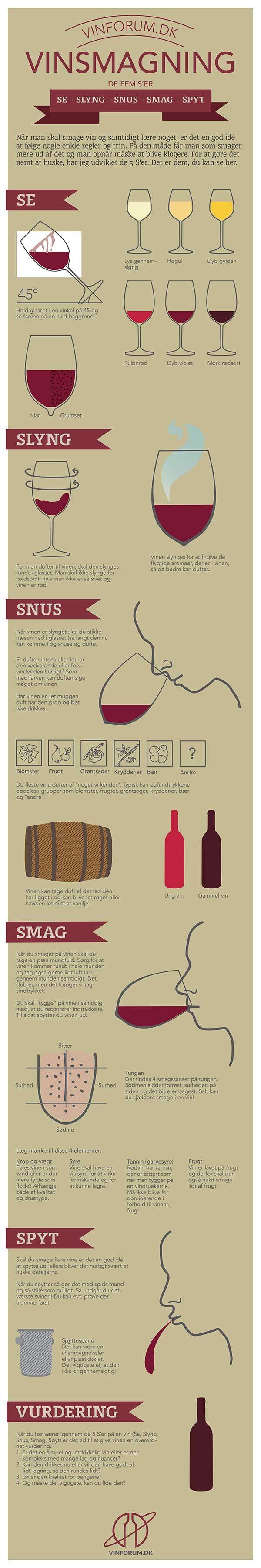 Vinsmagning infografik. Omhandler 5 nemme trin til bedre vinsmagning. Jeg kalder dem de 5 S'er; Se, Slyng, Snus, Smag og Spyt.