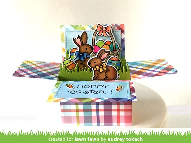 Lawn Fawn - Scalloped Box Card Pop-up, Eggstra Special Easter, Hoppy Easter _ card by Audrey for Lawn Fawn Design Team