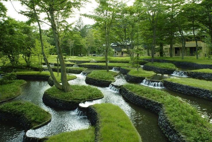 terraced, stepped gardens and water feature . Hoshinoya Karuizawa Resort