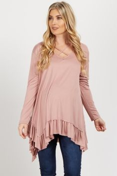 Pink Strappy Ruffle Trim Maternity Top