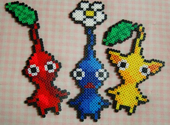 Red Yellow and Blue Pikmin Perler Bead Sprite Set on Etsy ...