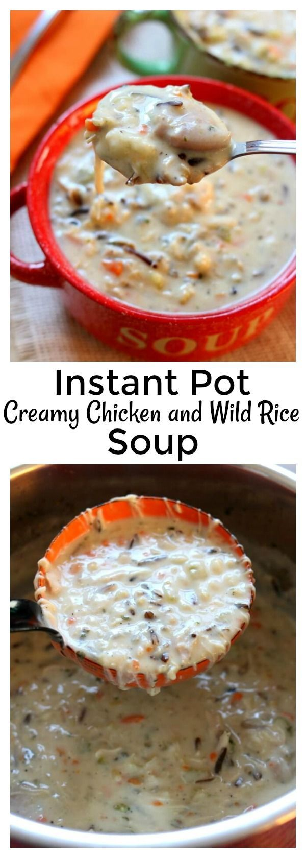Instant Pot Creamy Wild Rice and Chicken Soup–pure comfort food made quickly in your electric pressure cooker. It's a thick and hearty soup made with wild rice, brown rice, seasonings, vegetables and tender bites of chicken. You can also substitute leftover turkey in this soup. No rice-a-roni packages or pre-packaged foods are used in this version of the soup. #instantpot