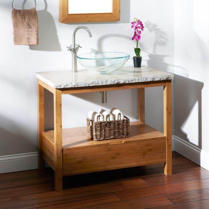36 aran bamboo vanity console for vessel sink 1200 for Modern bamboo bathroom vanity