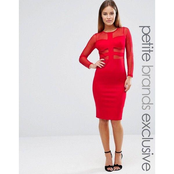 John Zack Petite Long Sleeve Mesh Insert Bodycon Dress (£52) ❤ liked on Polyvore featuring dresses, petite, red, red zipper dress, petite bodycon dresses, petite red dress, body con dress and bodycon dress