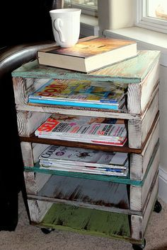 Round up some two by fours, plywood, and your favorite paints and wood stains to create a side table with plenty of levels for magazine storage. Becky at Beyond the Picket Fence screwed, drilled, and stacked the pieces together into a rustic pallet-style unit. Caster wheels instead of feet give it an industrial look. Get the tutorial at Beyond the Picket Fence.: