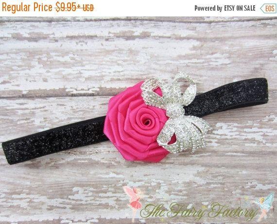 Diadema flor rosa y negro caliente, satén rosa con gran arco de cristal brillo negro elástico venda, venda del bebé niño niños niñas