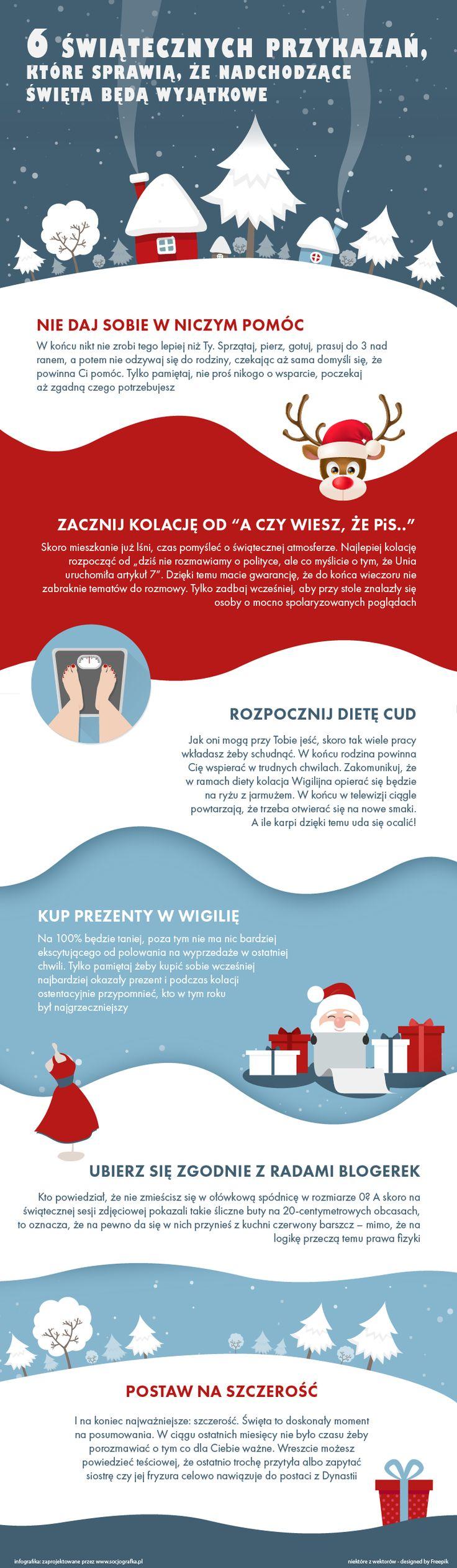 Infografika z antyporadnikiem jak nie należy przygotowywać się do Świąt. To taki mój minidrogowskaz, co zrobić żeby znienawidzić Boże Narodzenie. Opisy są trochę z przymrużeniem oka, w każdym razie nikomu z nie życzę takich Świąt:-) vertical infographic - preparation for Christmas