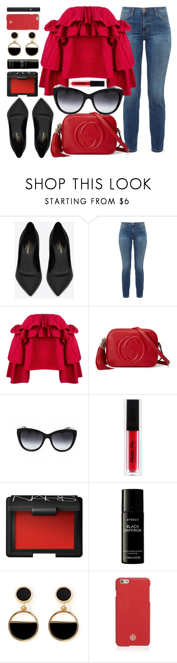 """""""Red"""" by smartbuyglasses ❤ liked on Polyvore featuring Yves Saint Laurent, Current/Elliott, Erika Cavallini Semi-Couture, Gucci, Dolce&Gabbana, NARS Cosmetics, Liberty, Warehouse, Tory Burch and Lancôme"""