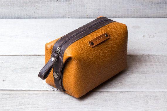 Personalized leather dopp kit bag shaving toiletry case.