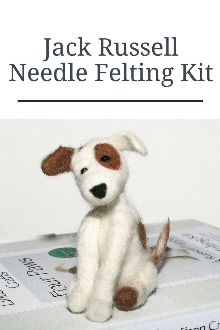 Dog Needle Felting Kit - Jack Russell Needle Felting Kit  A beautiful felting starter kit suitable for beginners, those wanting to improve their skills or simply just to create a unique handmade gift.  Every needle felting kit contains all you need to get you started on your creative journey; detailed tutorial and instructions, size guide and dozens of photographs guide you step by addictive step.