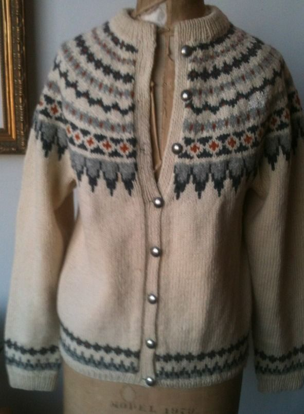 GORGEOUS Thick Wool Norwegian Hand Knit Ski Cardigan Sweater S to Med #Handmade #Cardigan