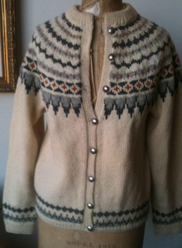 GORGEOUS Thick Wool Norwegian Hand Knit Ski Cardigan Sweater S to Med #Handmade #Cardigan