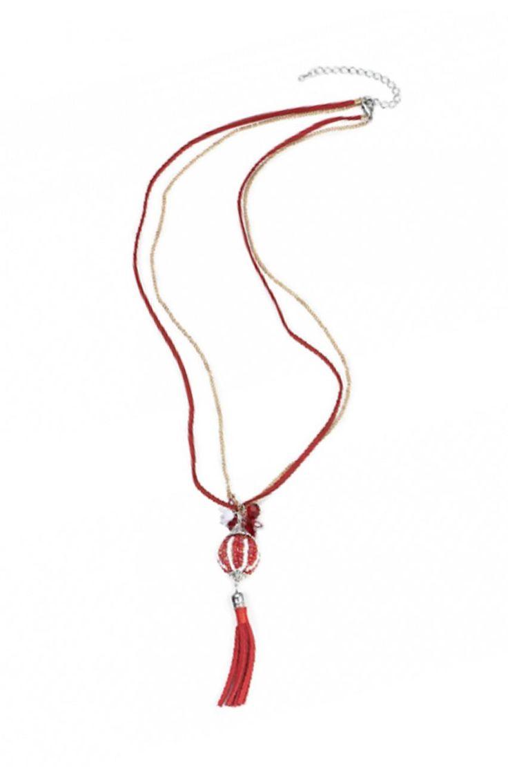 Czerwony naszyjnik z zawieszką - Modne Duże Rozmiary