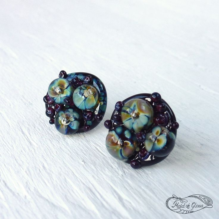 lampwork glass flower stud earrings, handmade by me in my Somerset studio, and available now in my online store ~ www.MaidofGlass.co.uk