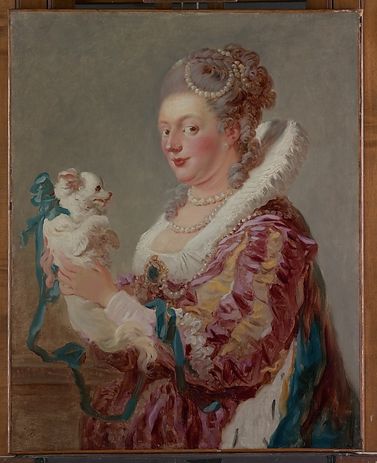 Jean Honoré Fragonard (French, 1732–1806). A Woman with a Dog, ca. 1769. The Metropolitan Museum of Art, New York. Fletcher Fund, 1937 (37.118). There is a certain humor in the contrast between the ample proportions of the sitter and the small size of her lapdog; the curl of his silky tail echoes her gray ringlets. Her brooch and pearls are much too large to have been real. #dogs