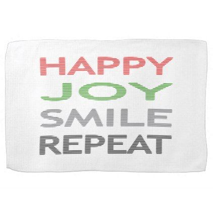 Happy joy smile repeat - strips - red green. towel - typography gifts unique custom diy