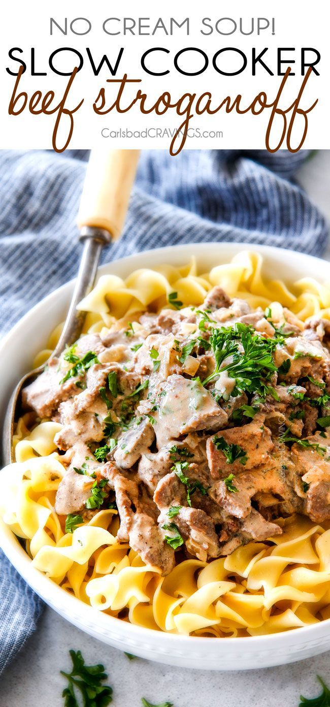 """This is by far my family's favorite Slow Cooker Beef Stroganoff recipe! An ultra rich and creamy, amazingly flavorful sauce (without any """"cream of"""" anything!), crazy tender meat all made in the crockpot for a gourmet meal with hardly any effort! I love serving this for holidays like Christmas!"""