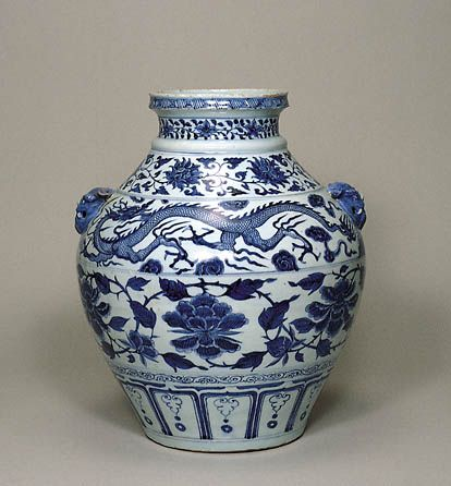Blue And White Vase With Dragon And Peony Scrolls Design
