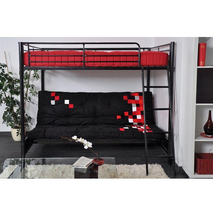 hugo lit mezzaclic adulte 140x190 matelas pixel achat vente lit mezzanine hugo lit mezzaclic. Black Bedroom Furniture Sets. Home Design Ideas