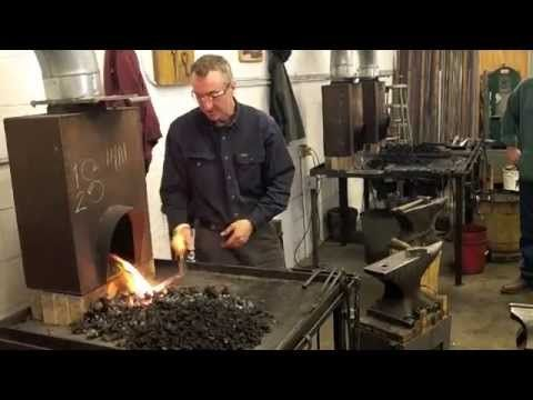 This demonstration took place in Dereck Glaser's beginner blacksmithing class at the New England School of Metalwork located in Auburn, Maine. Visit www.newe...