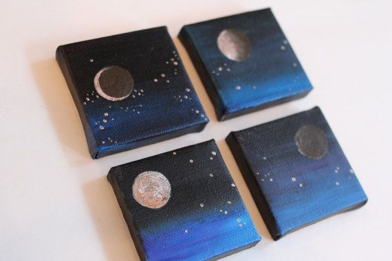 Moon Phases   Mini Canvas Paintings by Elizabeth Person