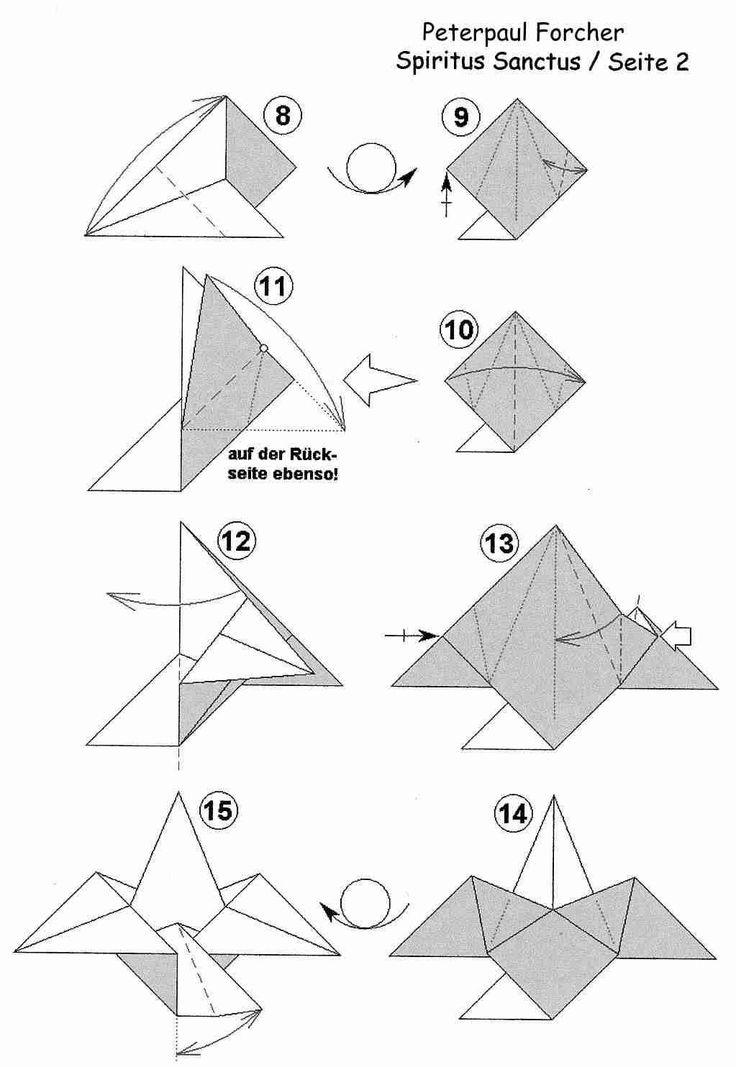 Essa é a mandalinha do espirito santo em origami, fica legal !! Faça várias para pendurar na árvore de natal... na porta de entrada ....