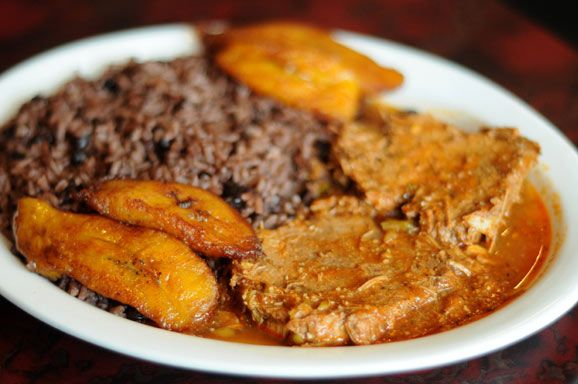 """When rice and beans are cooked together is called Congrí. If cooked separately is """"Arroz con Frijoles""""   The main course would consist of pork, beef, or chicken, accompanied by grains (rice) or """"viandas""""  (vegetables) incorporates different types of tubers,  boniato (yam or white sweet potato), yucca (cassava), potato, and malanga (taro), plantains (ripe and unripe), and corn. An additional popular side dish is salad, lettuce, tomatoes avocado  also  carrots, cucumber, radish, cabbage beets"""