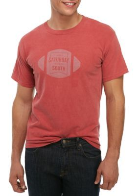 Saturday Down South Men's Short Sleeve Comfort Tee Football Badge - Crimson - 2Xl