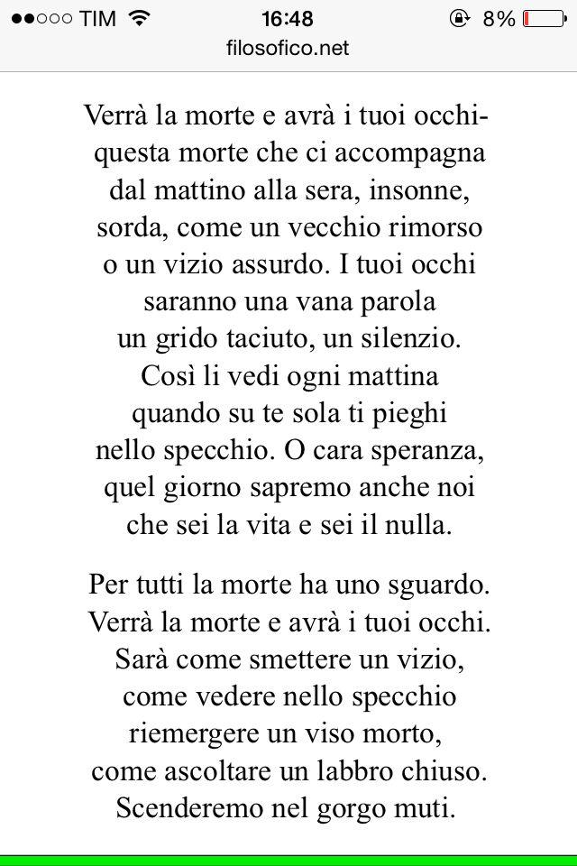 Cesare Pavese Verrà la morte ed avrà i tuoi occhi  Poesia italiana.