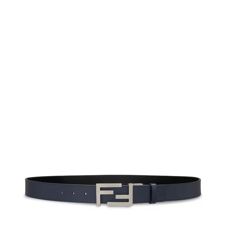 REVERSIBLE FF BUCKLE BELTBlack calfskin belt with reversible/adjustable silver metal FF logo buckle.  Made in Italy.
