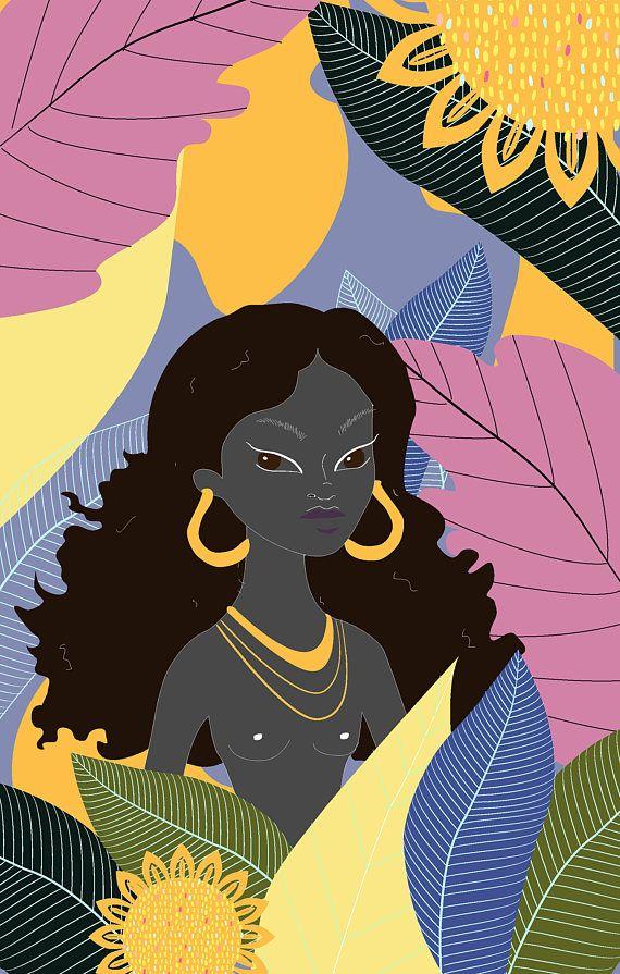 "artofvibration: ""Oshun ""My mother chants of God/ And of the mystic river. Japanese Illustration, Hand Illustration, Witch Wallpaper, African Love, Spiritual Love, Orisha, Arte Pop, Deities, Black Art"