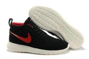 chaussures nike roshe run anti-fur Mid homme (noir/blanc/rouge logo) pas cher en ligne en france.