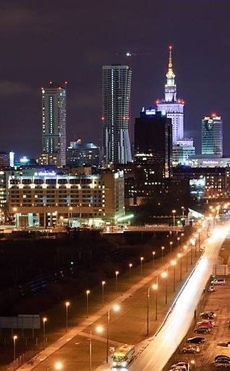 Warsaw, Poland night lights