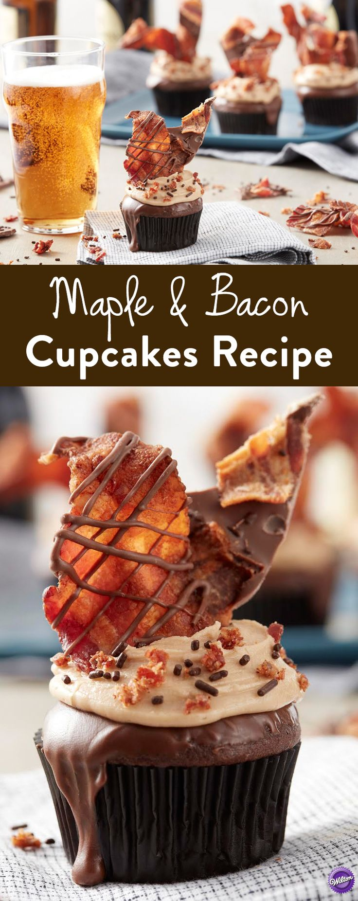 Maple and Bacon Cupcakes Recipe - These sweet and savory Maple Syrup Buttercream & Bacon Cupcakes are perfect for Father's Day, game day parties and more. Oh my, these look delicious!