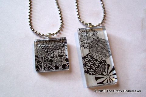 zentangle shrinky dink pendants