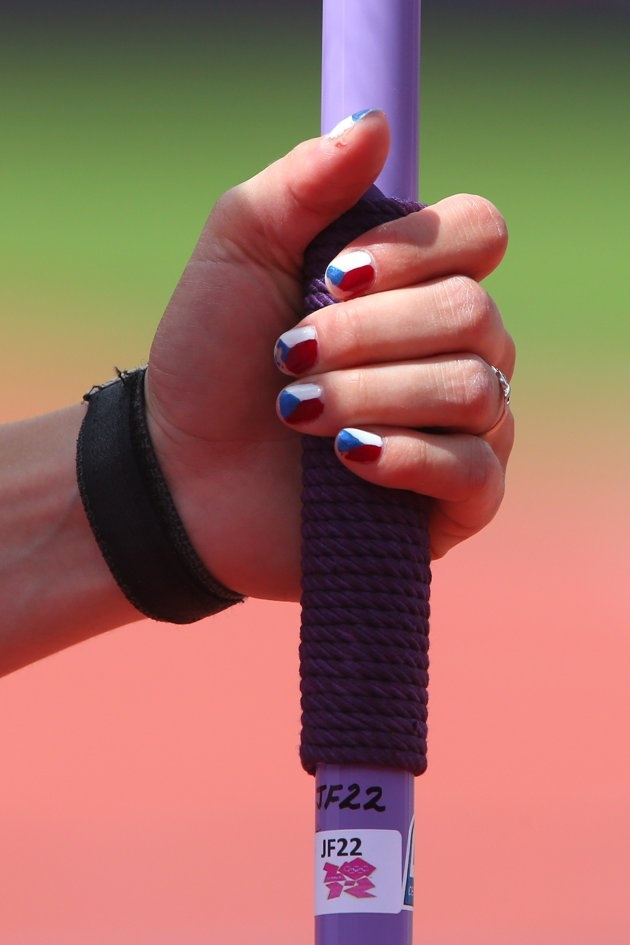 Jirina Ptacnikova–Czech Republic–Pole Vault  J. Finger nail detail of Jirina Ptacnikova of Czech Republic competes in the Women's Pole Vault qualification on Day 8 of the London 2012 Olympic Games at Olympic Stadium on August 4, 2012 in London, England.