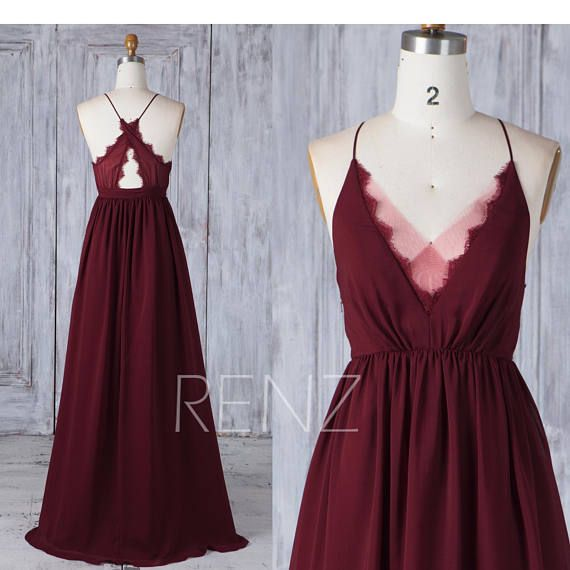 Bridesmaid Dress Burgundy Chiffon Wedding Dress Illusion Lace V Neck Maxi Dress Criss Cross Straps Party Dress A-Line Evening Dress (H586)