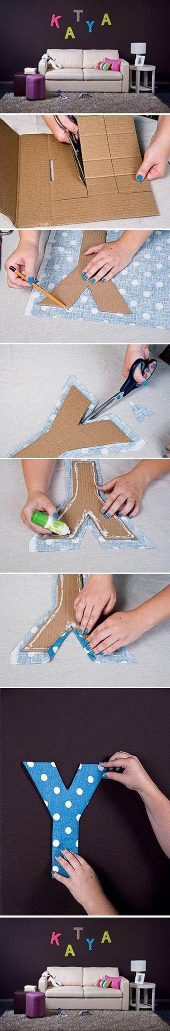 How to DIY Easy Letter Wall Decals #DIY #craft #decoration
