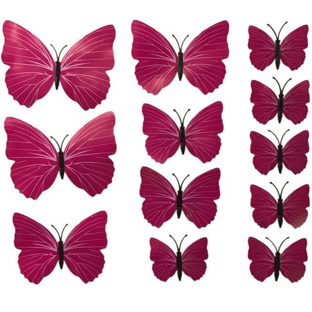 Hot Selling 12PCS 3D PVC Magnet Butterflies DIY Wall Sticker Home Decor Poster for Kids Rooms t Wall Decoration Drop Shipping