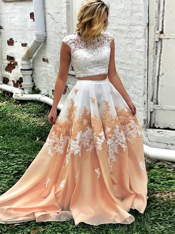 d7c4be3020a81 TWO PIECES PROM DRESS A LINE FLORAL WHITE LACE MODEST LONG PROM DRESSES/EVENING  DRESS