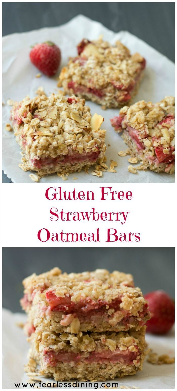 Simple Gluten Free Fresh Strawberry Oatmeal Bars are a quick and easy snack. Recipe at www.fearlessdinin...