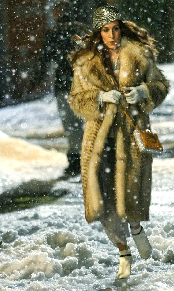 fav part...Carrie Bradshaw Wearing A Vintage Fur Coat And A Sequin Beret, SATC The Movie