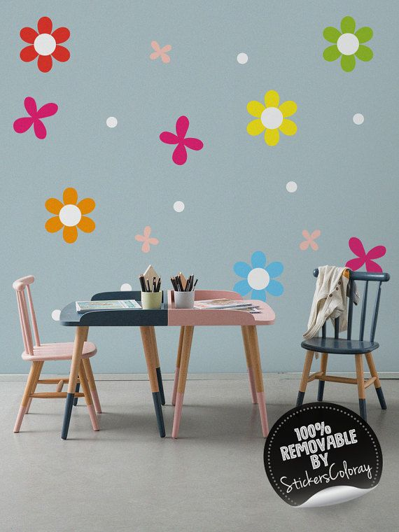 Polka Dot wall decal, Flowers and Dots wall decal, Colorful wall decor for Kids room, Nursery, Removable, Peel and Stick #82