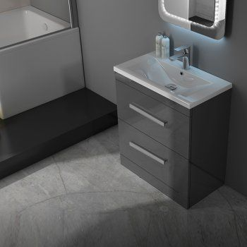 Patello 60 Grey Vanity Unit And Basin 2 Draws straight Modern Bathroom and Cloakroom