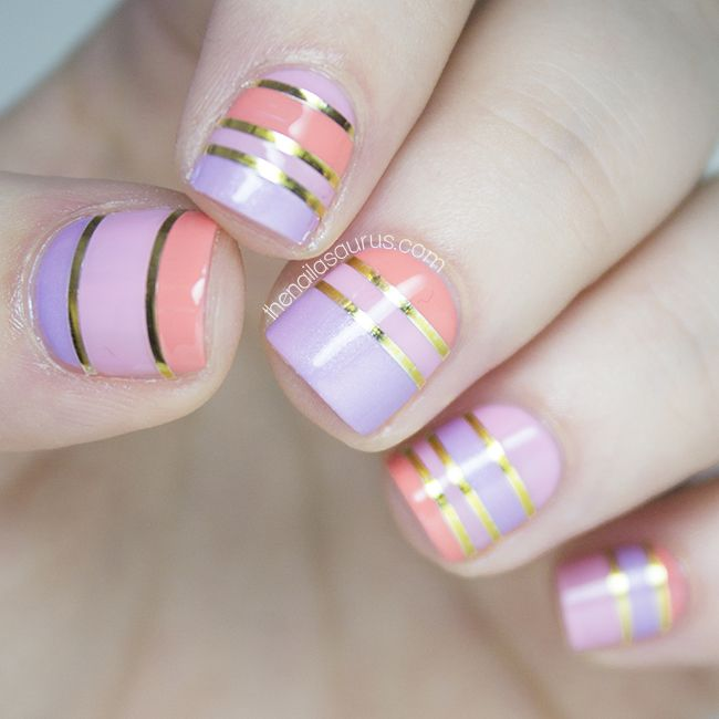 I wanted to do something fun and flirty today so I picked out a few sorbet colours, grabbed the gold striping tape and set about creating this banded nail art. The striping tape is holding up well so far –… View Post